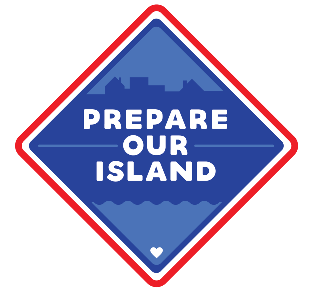 Diamond-shaped logo that says  Prepare Our Island