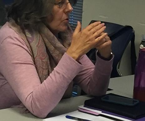 Close up of woman during SPEDSPG meeting